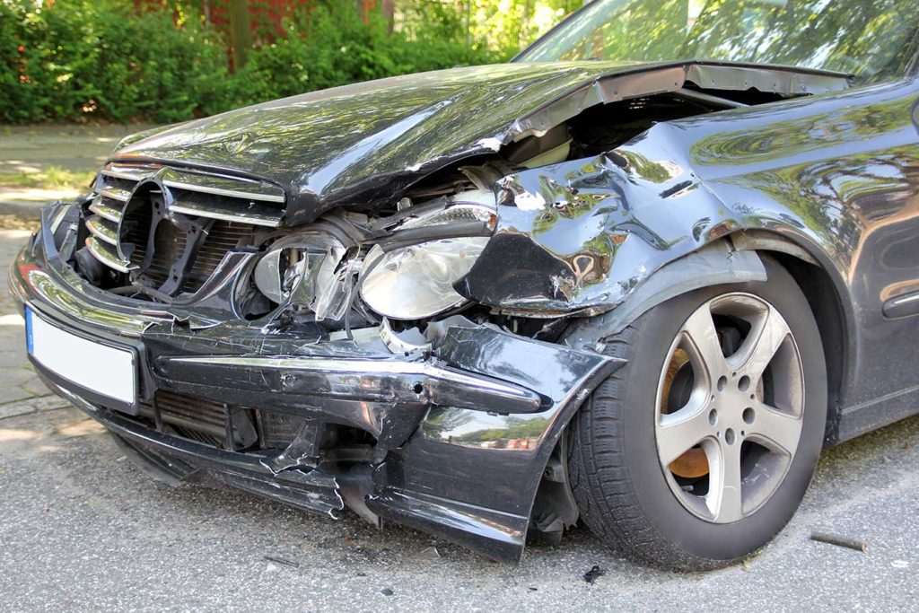 front-bumper damage in car accident